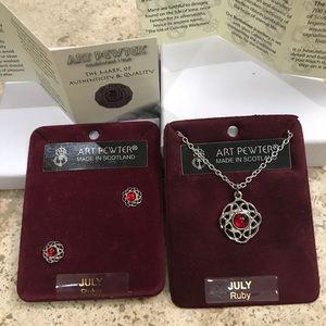 Jewelry - July Gem - Scotland Art Pewter Earring/Necklace